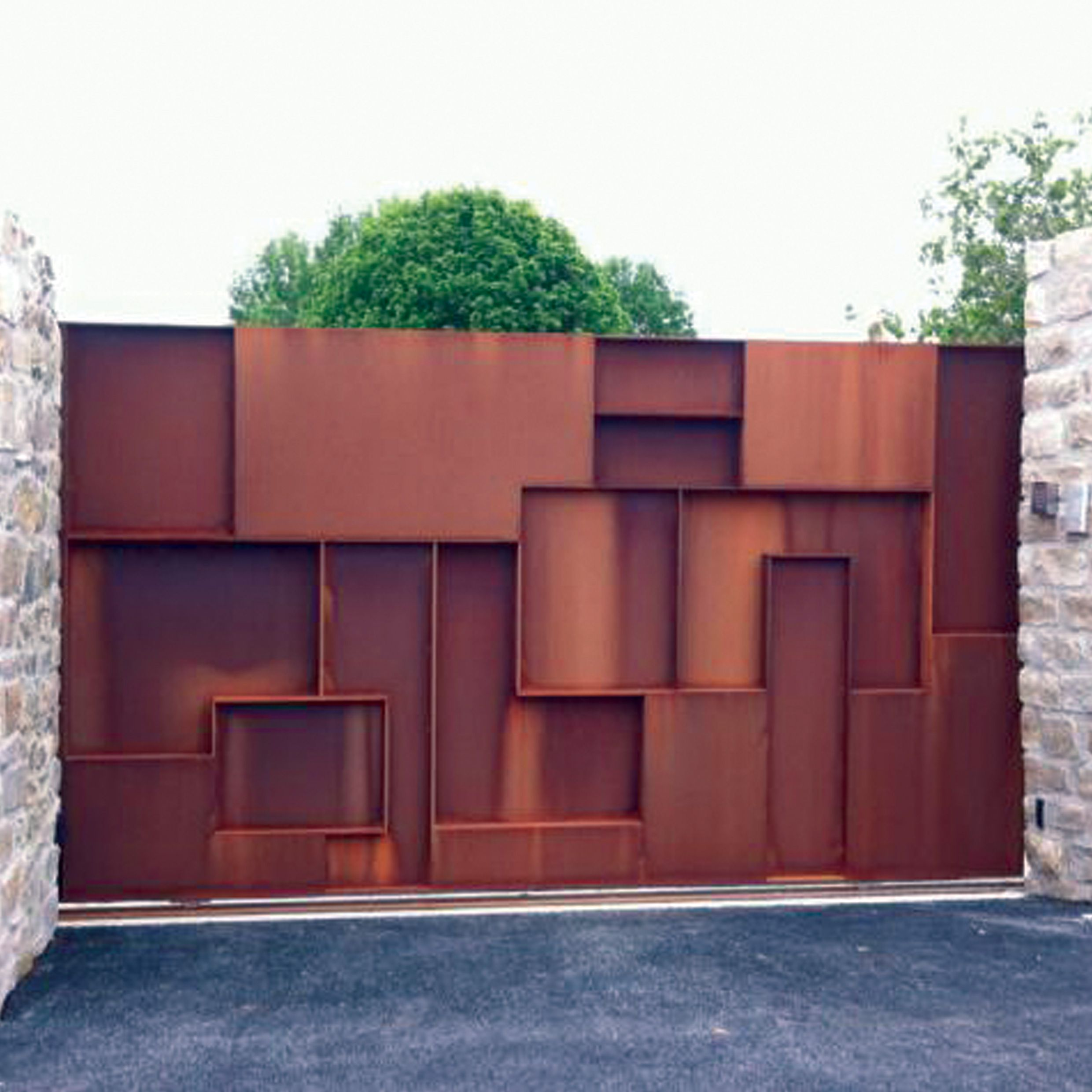 portail acier corten mod le construction ville de pl neuf val andr metafer. Black Bedroom Furniture Sets. Home Design Ideas